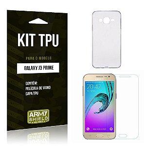Kit Tpu Samsung j3 prime Película de Vidro + Capa Tpu transparente -ArmyShield