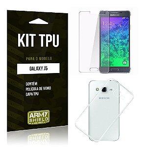 Kit Tpu Samsung j5 Película de Vidro + Capa Tpu transparente -ArmyShield