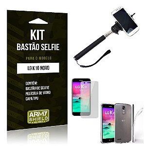 Kit Bastão Selfie LG K10 Novo 2017 Película de Vidro + Capa Tpu + Bastão Selfie -ArmyShield