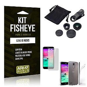 Kit Fisheye LG K10 Novo 2017 Película de Vidro + Capa Tpu e Lente Olho de Peixe -ArmyShield