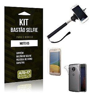 Kit Bastão Selfie Moto G5 Película de Vidro + Capa Tpu + Bastão Selfie -ArmyShield