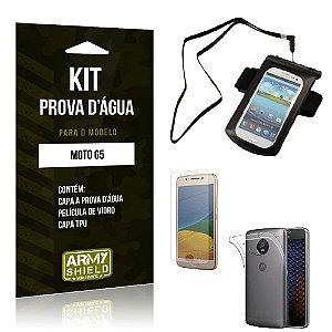 Kit Capa a prova d'agua Moto G5 Película de Vidro + Tpu + Capa a prova d'agua -ArmyShield