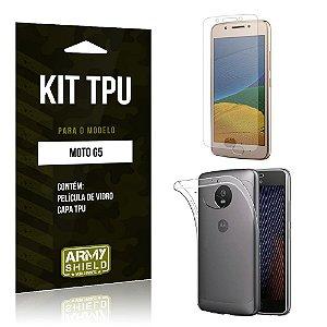 Kit TPU Moto G5 Capa TPU + Película de Vidro -ArmyShield