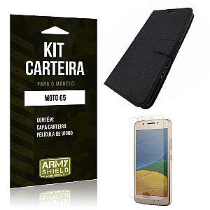 Kit Carteira Moto G5 Película de Vidro + Capa Carteira -ArmyShield