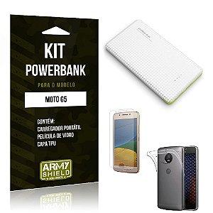Kit Powerbank  Moto G5 Película de Vidro + Powerbank 10.000mah + Capa TPU -ArmyShield