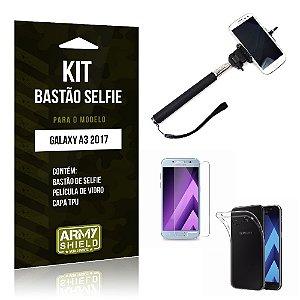 Kit Bastão Selfie Galaxy A3 2017 Película de Vidro + Capa Tpu + Bastão Selfie -ArmyShield