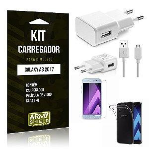 Kit Carregador Galaxy A3 2017 Película de Vidro + Capa Tpu + Carregador  -ArmyShield