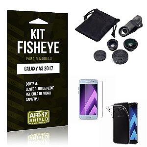 Kit Fisheye Galaxy A3 2017 Película de Vidro + Capa Tpu e Lente Olho de Peixe -ArmyShield