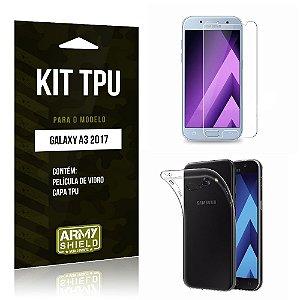Kit TPU Galaxy A3 2017 Capa TPU + Película de Vidro -ArmyShield