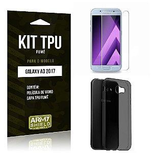 Kit Tpu Fumê Galaxy A3 2017 Película de Vidro + Capa Tpu Fumê -ArmyShield