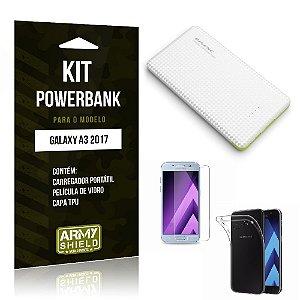 Kit Powerbank  Galaxy A3 2017 Película de Vidro + Powerbank 10.000mah + Capa TPU -ArmyShield