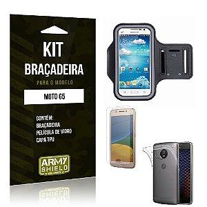 Kit Braçadeira Moto G5 Pelicula De Vidro + Capa Tpu + Braçadeira - Armyshield