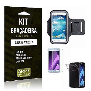 Kit Braçadeira Galaxy A3 2017 Pelicula De Vidro + Capa Tpu + Braçadeira - Armyshield