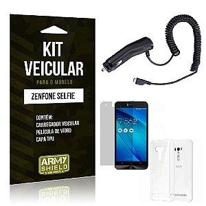 Kit Veicular Asus Zenfone selfie Película de Vidro + Capa Tpu + Carregador Veicular  -ArmyShield
