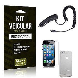 Kit Veicular Iphone 5g/5 se Película de Vidro + Capa Tpu + Carregador Veicular  -ArmyShield