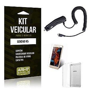 Kit Veicular Lenovo k5 Película de Vidro + Capa Tpu + Carregador Veicular  -ArmyShield