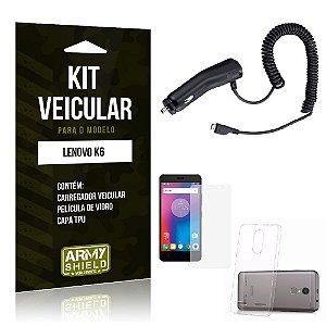 Kit Veicular Lenovo k6 Película de Vidro + Capa Tpu + Carregador Veicular  -ArmyShield