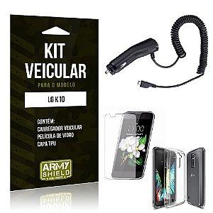 Kit Veicular Lg k10 Película de Vidro + Capa Tpu + Carregador Veicular  -ArmyShield