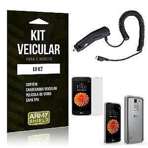 Kit Veicular Lg k7 Película de Vidro + Capa Tpu + Carregador Veicular  -ArmyShield