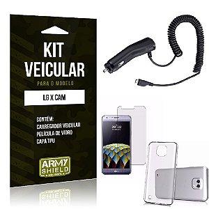 Kit Veicular Lg x cam Película de Vidro + Capa Tpu + Carregador Veicular  -ArmyShield