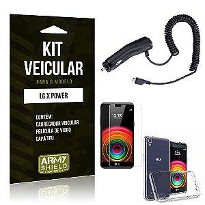 Kit Veicular Lg x power Película de Vidro + Capa Tpu + Carregador Veicular  -ArmyShield