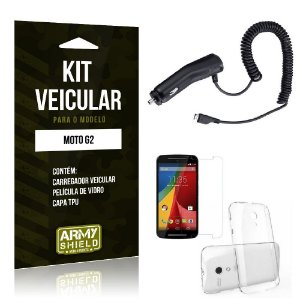 Kit Veicular Motorola moto g2 Película de Vidro + Capa Tpu + Carregador Veicular  -ArmyShield