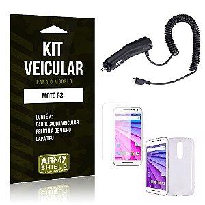 Kit Veicular Motorola moto g3 Película de Vidro + Capa Tpu + Carregador Veicular  -ArmyShield