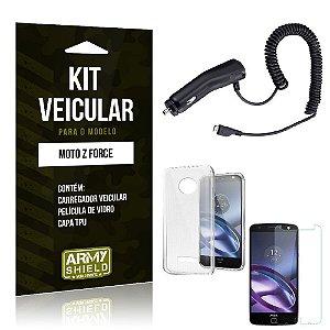 Kit Veicular Motorola moto z force Película de Vidro + Capa Tpu + Carregador Veicular  -ArmyShield