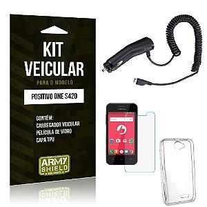 Kit Veicular Positivo One s420 Película de Vidro + Capa Tpu + Carregador Veicular  -ArmyShield