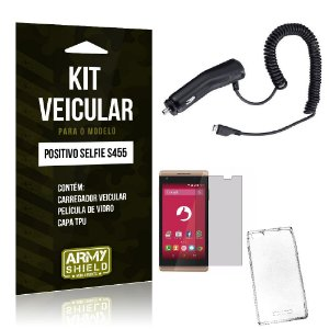Kit Veicular Positivo Selfie s455 Película de Vidro + Capa Tpu + Carregador Veicular  -ArmyShield