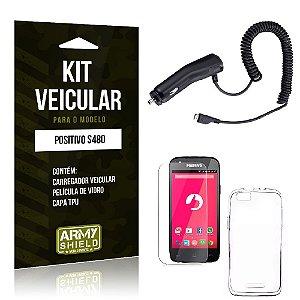 Kit Veicular Positivo s480 Película de Vidro + Capa Tpu + Carregador Veicular  -ArmyShield