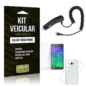 Kit Veicular Samsung g530 tv Película de Vidro + Capa Tpu + Carregador Veicular  -ArmyShield