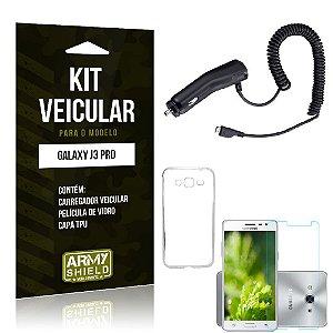 Kit Veicular Samsung galaxy j3 pro Película de Vidro + Capa Tpu + Carregador Veicular  -ArmyShield