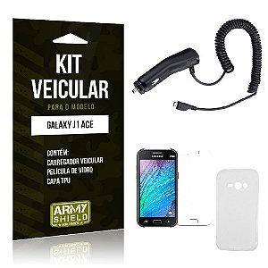 Kit Veicular Samsung j1 ace Película de Vidro + Capa Tpu + Carregador Veicular  -ArmyShield