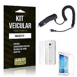 Kit Veicular Samsung j2 2015 Película de Vidro + Capa Tpu + Carregador Veicular  -ArmyShield