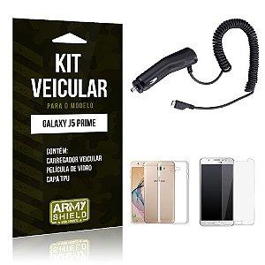 Kit Veicular Samsung j5 prime Película de Vidro + Capa Tpu + Carregador Veicular  -ArmyShield