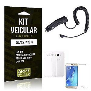 Kit Veicular Samsung J7 II 2016 Película de Vidro + Capa Tpu + Carregador Veicular  -ArmyShield