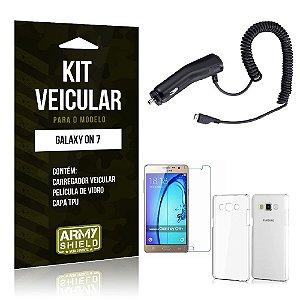 Kit Veicular Samsung on 7 Película de Vidro + Capa Tpu + Carregador Veicular  -ArmyShield