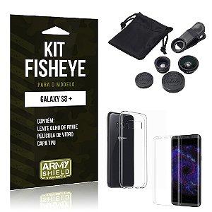 Kit FIsheye Samsung Galaxy S8 Plus  Película de Vidro + Capa Tpu e Lente Olho de Peixe - Armyshield