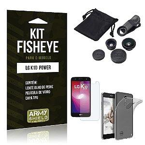 Kit FIsheye LG K10 Power Película de Vidro + Capa Tpu e Lente Olho de Peixe  - Armyshield