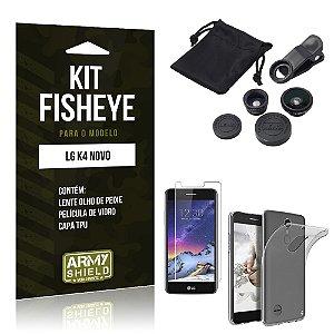 Kit FIsheye LG K4 Novo Película de Vidro + Capa Tpu e Lente Olho de Peixe  - Armyshield