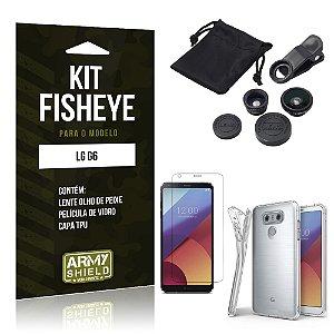 Kit FIsheye LG G6  Película de Vidro + Capa Tpu e Lente Olho de Peixe - Armyshield