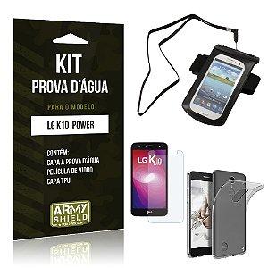 Kit Capa a prova d'agua LG K10 Power Película de Vidro + Tpu + Capa a prova d'agua  - Armyshield