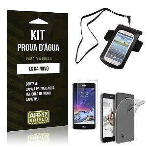 Kit Capa a prova d'agua LG K4 Novo Película de Vidro + Tpu + Capa a prova d'agua  - Armyshield