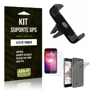 Kit Suporte Veicular  LG K10 Power Película de Vidro + Tpu + Suporte Veicular   - Armyshield