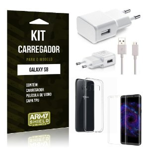Kit Carregador  Samsung Galaxy S8  Película de Vidro + Tpu + Carregador  - Armyshield