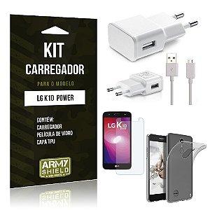 Kit Carregador  LG K10 Power Película de Vidro + Tpu + Carregador   - Armyshield
