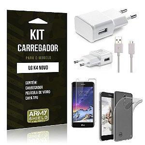 Kit Carregador  LG K4 Novo Película de Vidro + Tpu + Carregador   - Armyshield