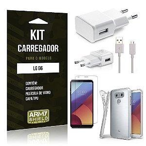 Kit Carregador  LG G6  Película de Vidro + Tpu + Carregador  - Armyshield