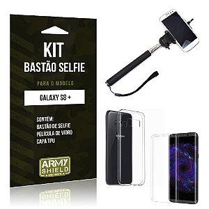 Kit Bastão Selfie  Samsung Galaxy S8 Plus  Película de Vidro + Tpu + Bastão Selfie  - Armyshield